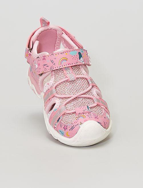 Sandales fermées à scratchs                             rose