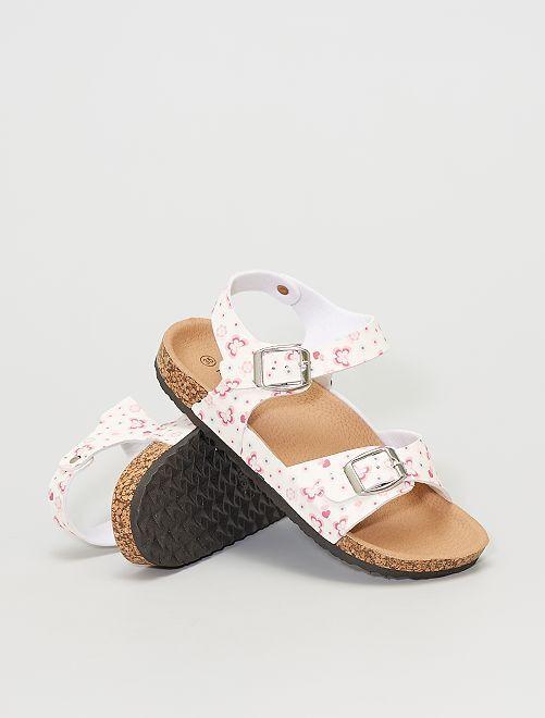 Sandales fleuries                             blanc