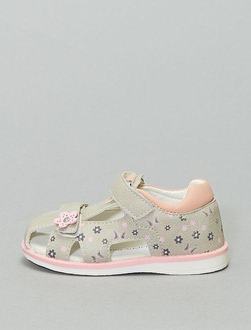 Sandales fleuries fermées                             gris