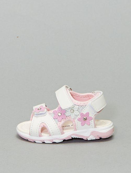 Sandales fleurs en simili                             blanc