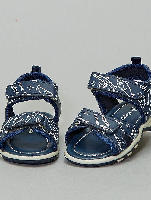 Sandales imprimées à scratchs                             bleu navy