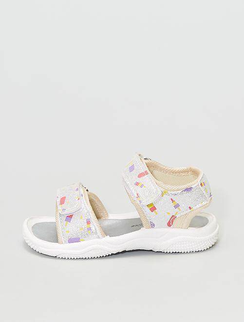 Sandales imprimées                             argent
