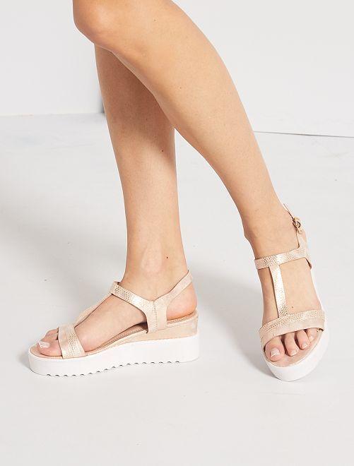 Sandales irisées à plateforme                             rose
