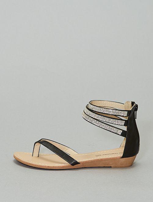 Sandales liens à strass                             noir