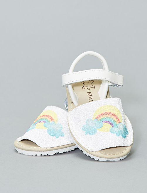 Sandales menorquinas en cuir 'Arc-en-ciel'                             beige