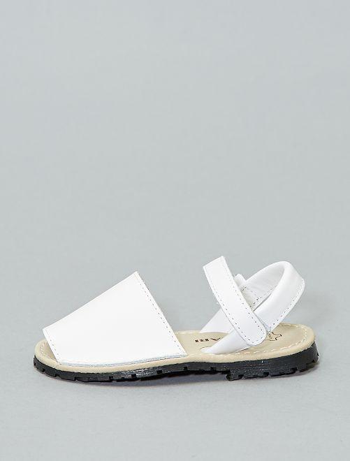 Sandales menorquinas en cuir                                         blanc