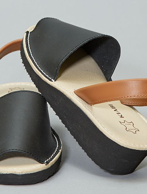 Sandales menorquinas en cuir                             noir