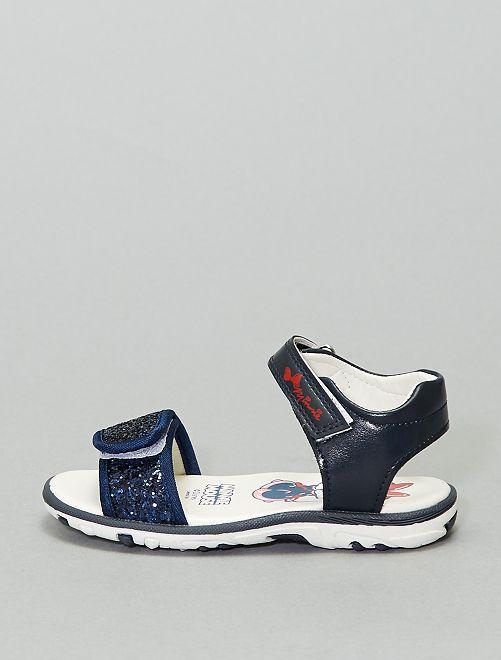 Sandales 'Minnie' pailletées                             bleu marine