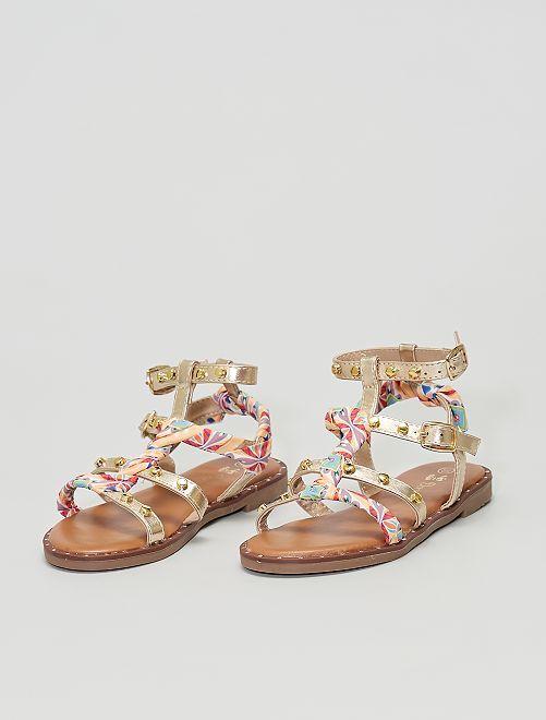 Sandales montantes avec tissu multicolore                             doré