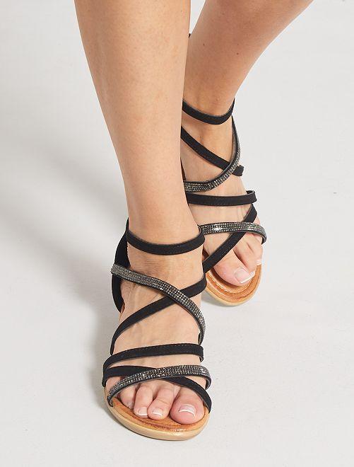 Sandales montantes plates en suédine                             noir