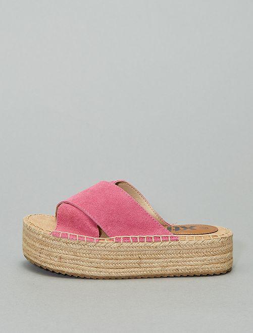 Sandales mules en cuir 'Xti'                                                                 fuchsia