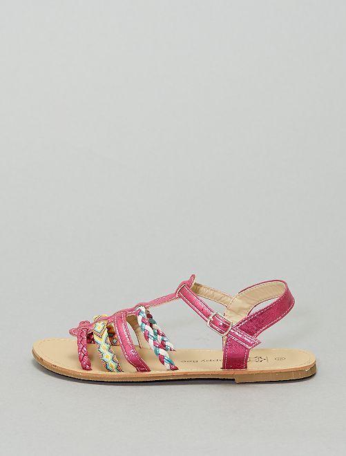Sandales multilien irisées                             fuchsia