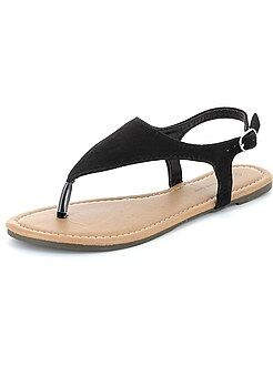 Sandales plates - Sandales nu-pieds en suédine