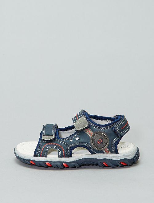 Sandales ouvertes à scratchs                             BLEU