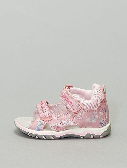 Sandales ouvertes en simili et textile                             rose