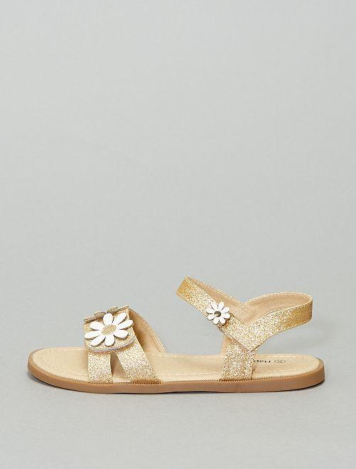 Sandales pailletées à fleurs                             doré