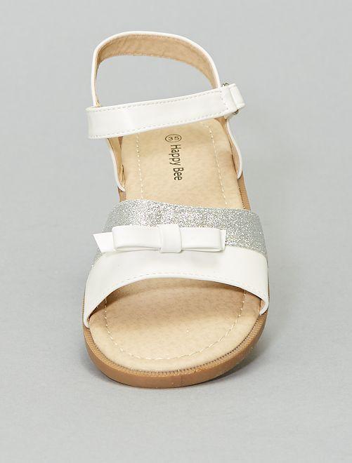 Sandales pailletées avec nœud                             blanc