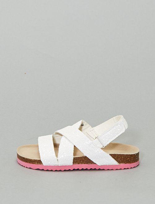 Sandales pailletées                             blanc