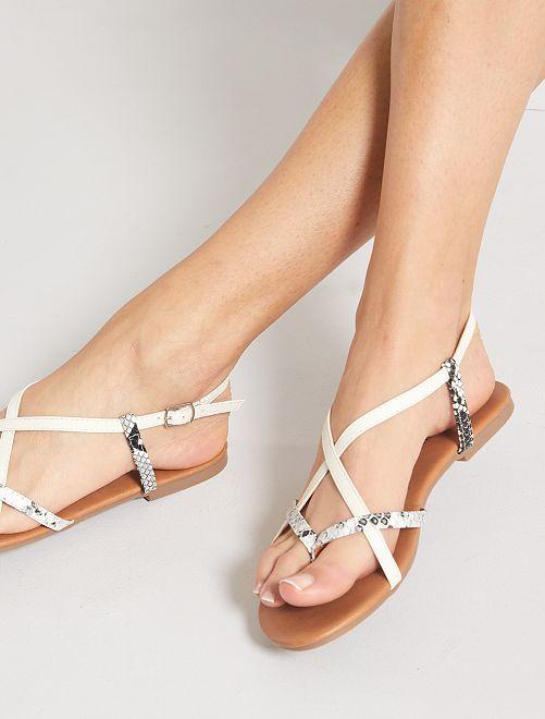 Sandales peau de serpent                             blanc