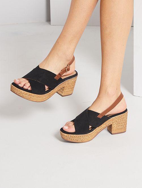 Sandales plateforme à talon en suédine                                         noir