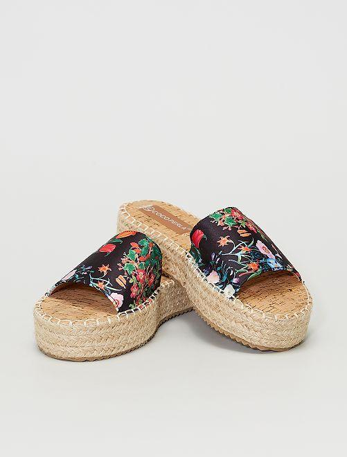 Sandales plateformes à fleurs                                         noir