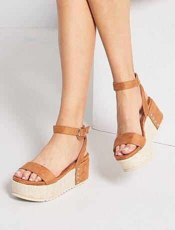 Sandales plateformes en suédine