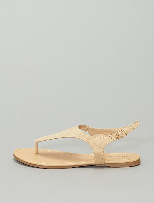 Sandales plates à boucle                                         beige