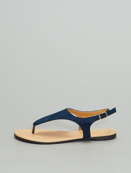 Sandales plates à boucle                                         bleu