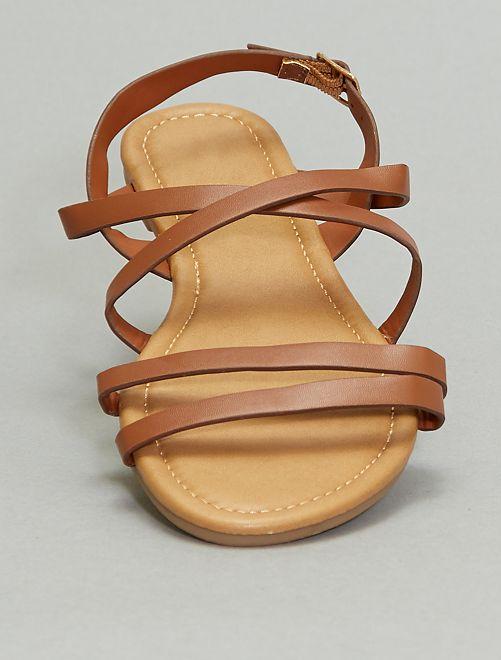 Sandales plates à brides croisées                             camel