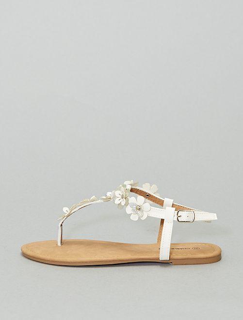 Sandales plates à fleurs                             blanc
