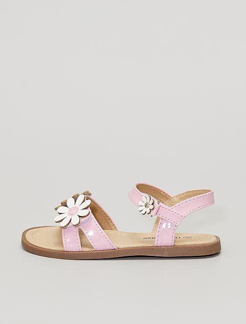 Sandales plates à 'fleurs'                             rose