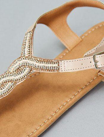 Femme du 34 au 48 - Sandales plates à perles - Kiabi