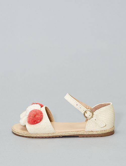 Sandales plates à pompons                             beige