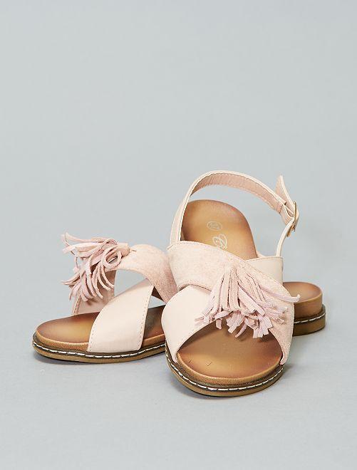 Sandales plates à pompons                             rose Femme