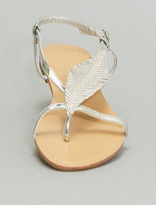 Sandales plates à strass                             argent