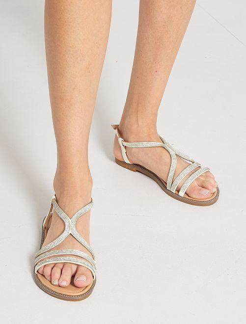 Sandales plates à strass                             blanc