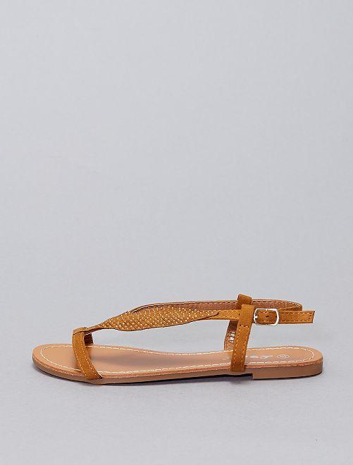 Sandales plates à strass                     camel