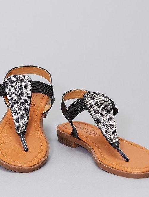 Sandales plates à strass grandes pointures                             noir
