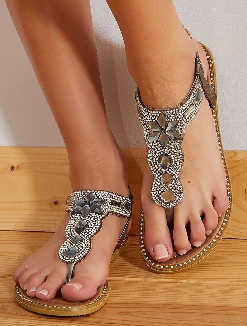 Sandales plates à strass                             gris