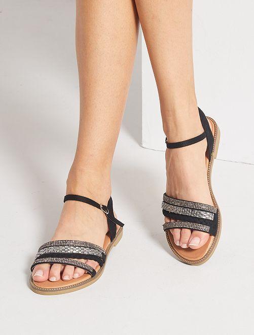 Sandales plates à strass                                         noir