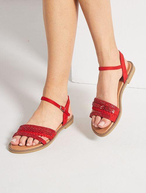 Sandales plates à strass                     rouge