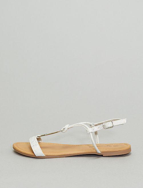 Sandales plates                             argent