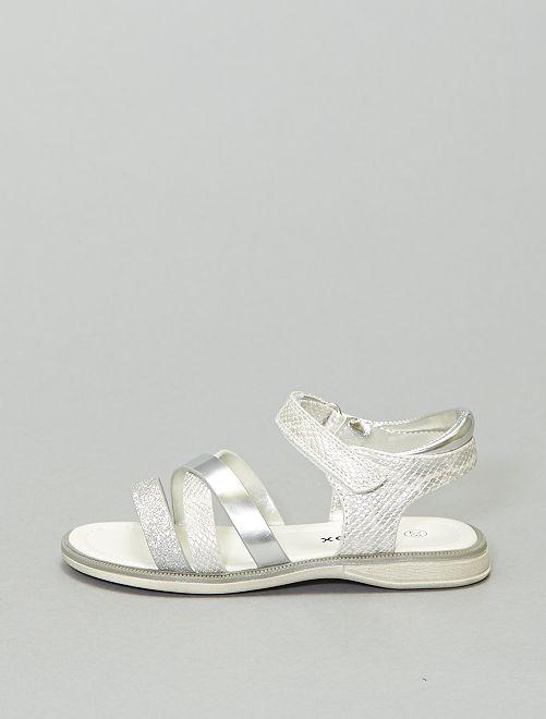Sandales plates argentées                             beige