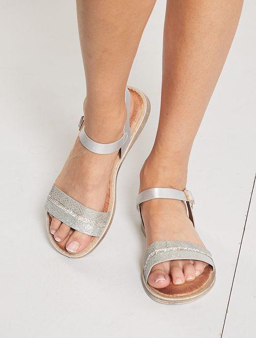 Sandales plates argentées                                         gris