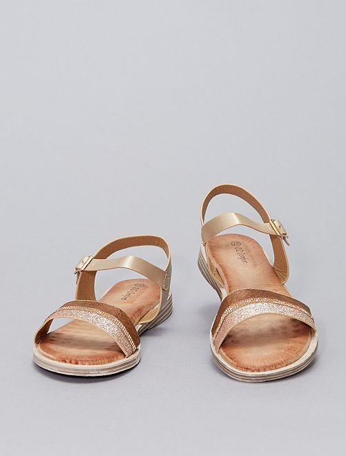 Sandales plates argentées                                         marron