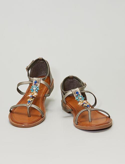 Sandales plates avec bijoux fantaisies                                         gris