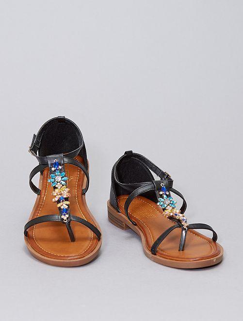 Sandales plates avec bijoux fantaisies                                         noir