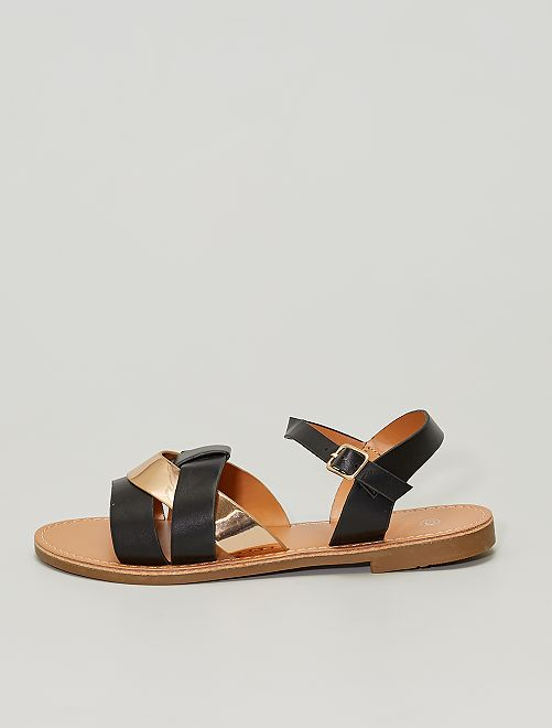 Sandales plates avec bride cuivrée                             noir