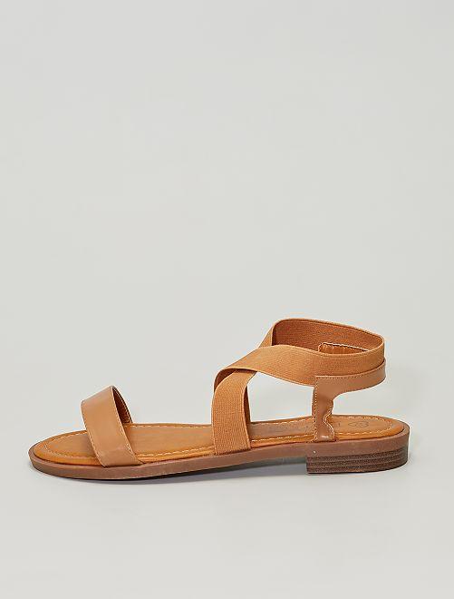 Sandales plates avec brides élastiquées                             BEIGE