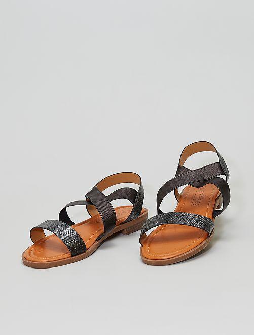 Sandales plates avec brides élastiquées                             noir